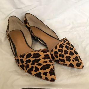 J. Crew calf hair leopard print pointed toe flats